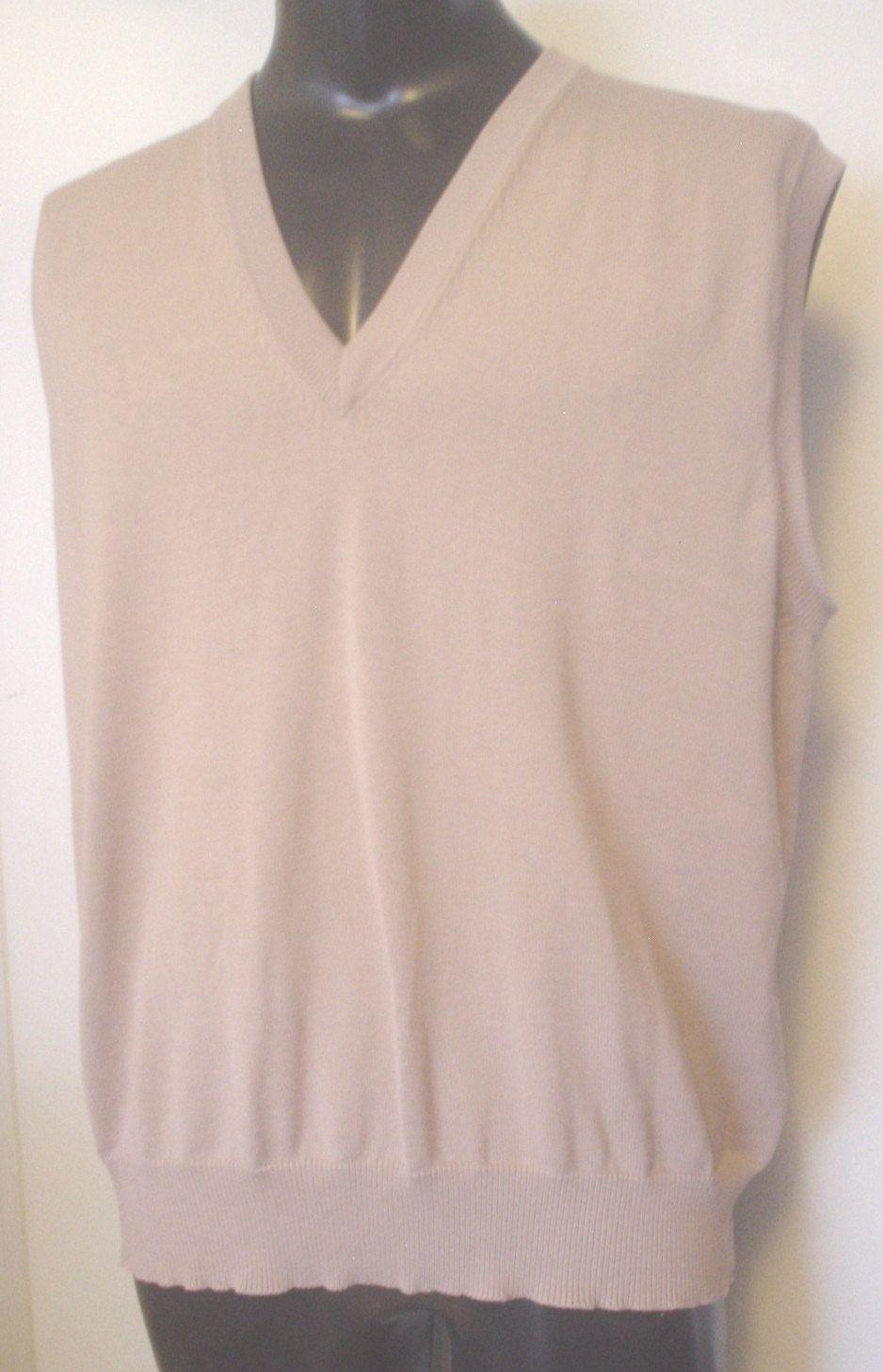 Vintage Mens Par Four Beige All Cotton Ribbed V-Neck Sweater Vest ...