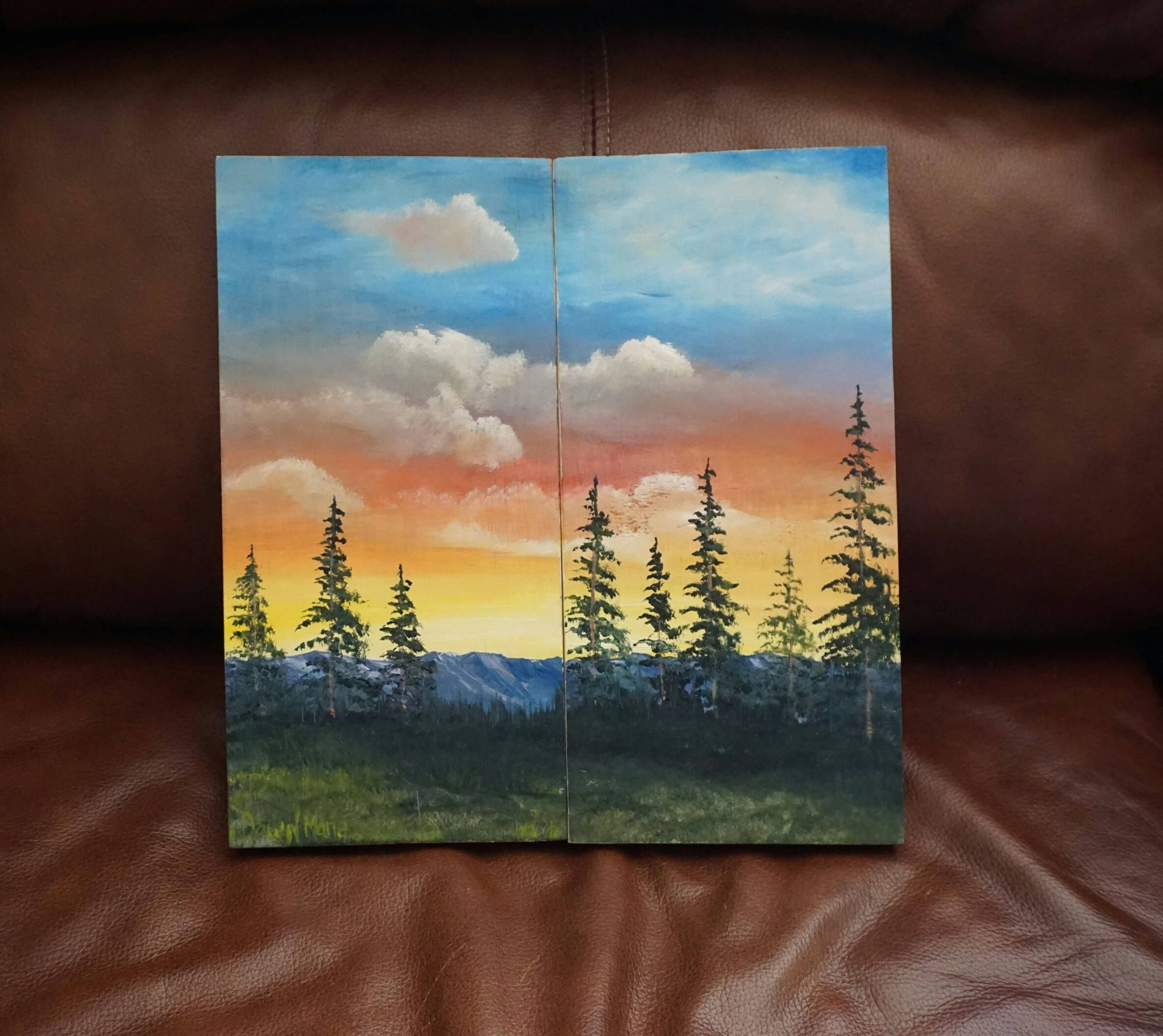 As Good As It Gets Oil Painting On Pine Wood 2 Piece Companion Set Sunsetart Pine Tree Art One Of A Kind Art Unique Gift Free Shipping In 2020 Painting Oil Painting Pine Tree Art