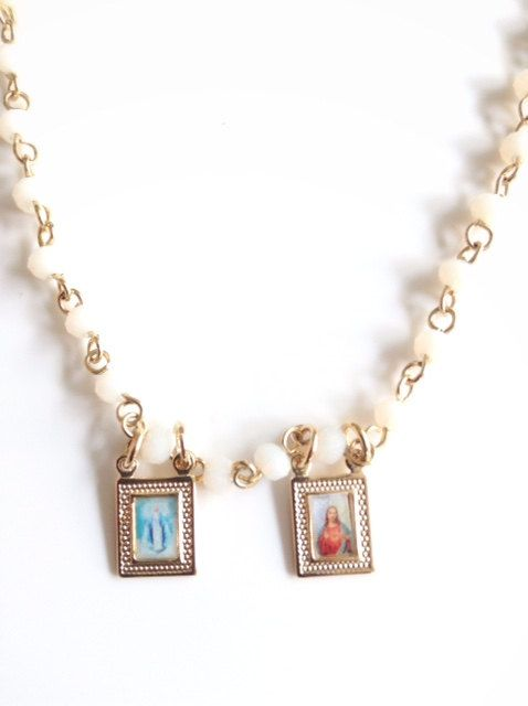 Scapular Necklace, White Short Crystal Rosary, Gold Sacred Heart of Jesus and Virgin Mary Pendant, Religious jewelry, Catholic Scapular