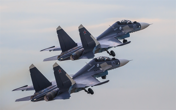 Download Wallpapers Su 30SM Combat Fighter Military Aviation Russian Air Force Russia