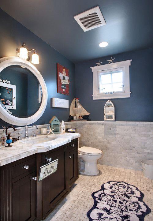 Seaside Bathroom With Dark Wood Vanity Traditional Bathroom Bathroom Design Bathroom Ceiling Paint