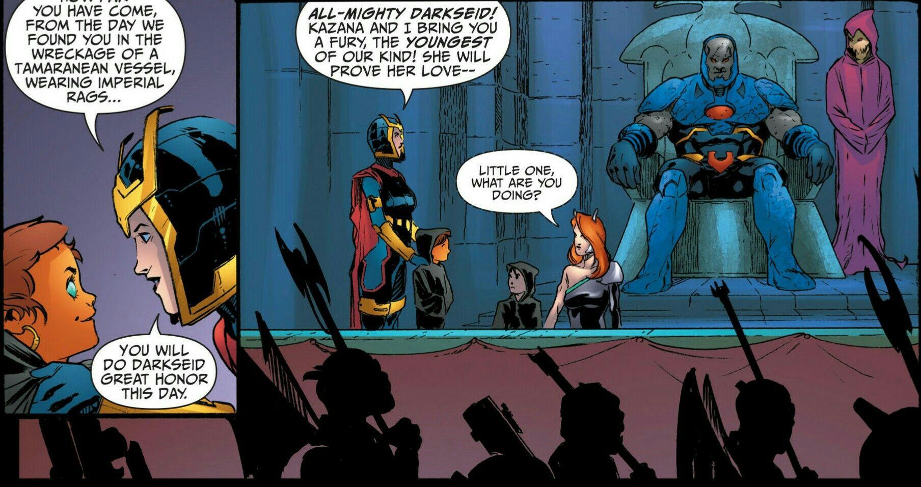 Darkseid, Desaad, and Big Barda with future Four Furies of Apokolips War