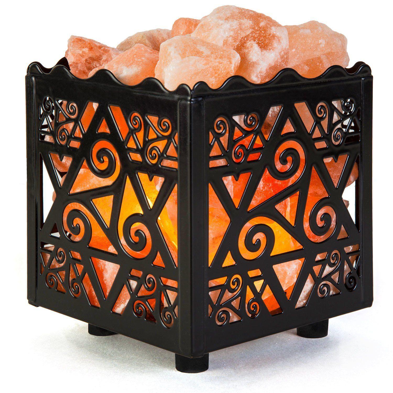 Crystal Decor Natural Himalayan Salt Lamp In Star Design Metal Basket With Dimmable Co Natural Himalayan Salt Lamp Pink Salt Lamp Himalayan Salt Lamp