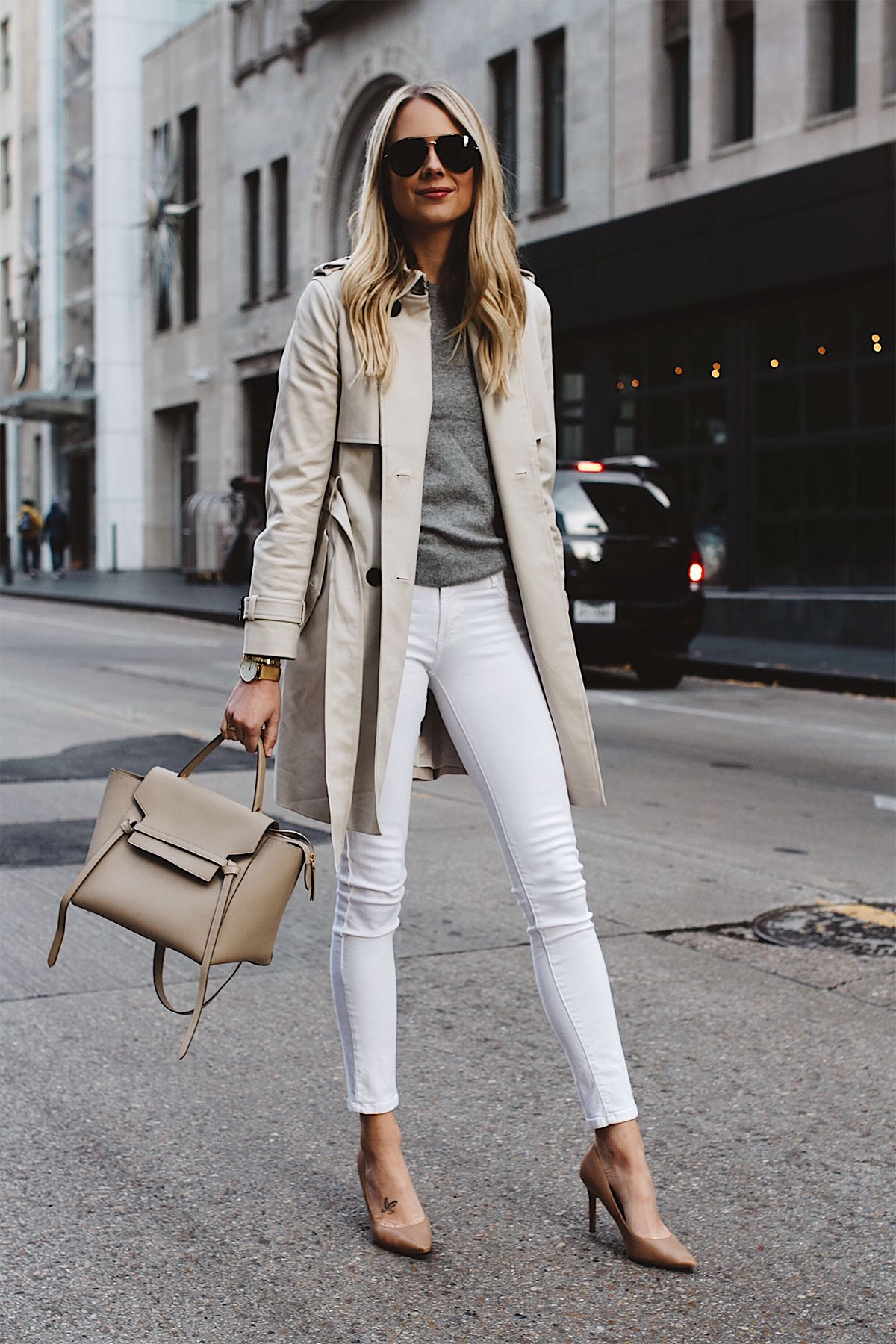 Blonde Woman Wearing Club Monaco Trench Coat Grey Sweater White Skinny  Jeans Celine Belt Bag Aviator Sunglasses Nude Pumps Fashion Jackson Dallas  Blogger ...