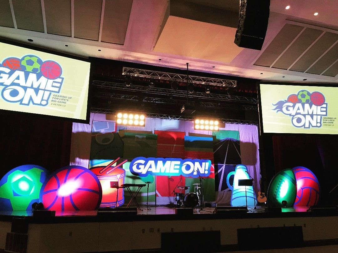 LifeWay's stage at Ridgecrest  Gear Up Get Ready GAME ON