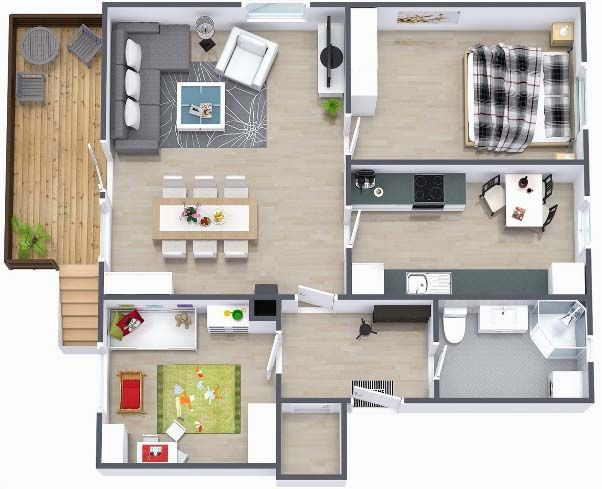 Two bedroom small house plans under 1000 sq ft 3d designs for 3d house plans in 1000 sq ft