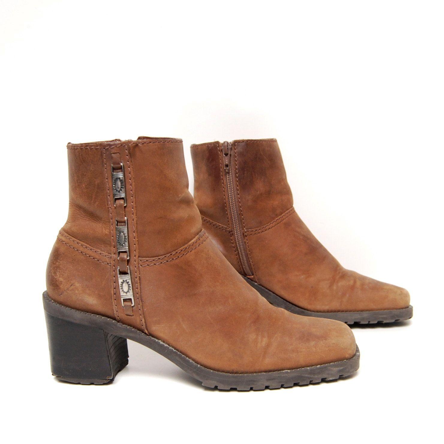 size 7 PLATFORM brown leather 80s 90s SOUTHWEST by 20twentyvintage