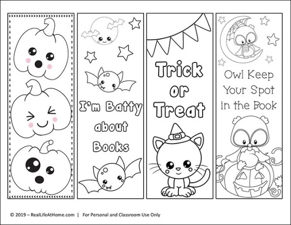 Free Printable Color Your Own Halloween Bookmarks Coloring Bookmarks Free Halloween Printables Free Bookmarks Kids