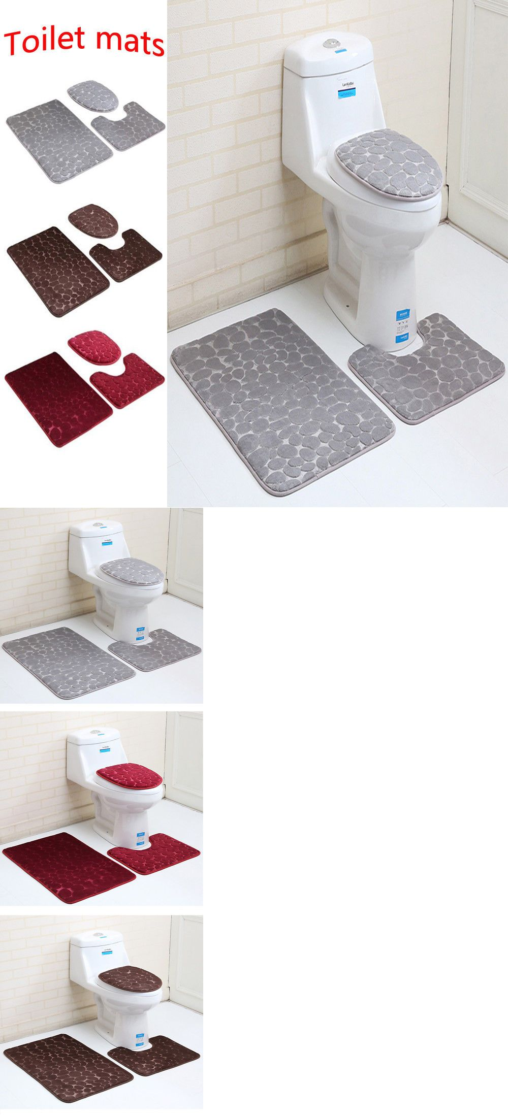 Details About 3pcs Anti Slip Bathroom Rug Mat Set Stone Pattern