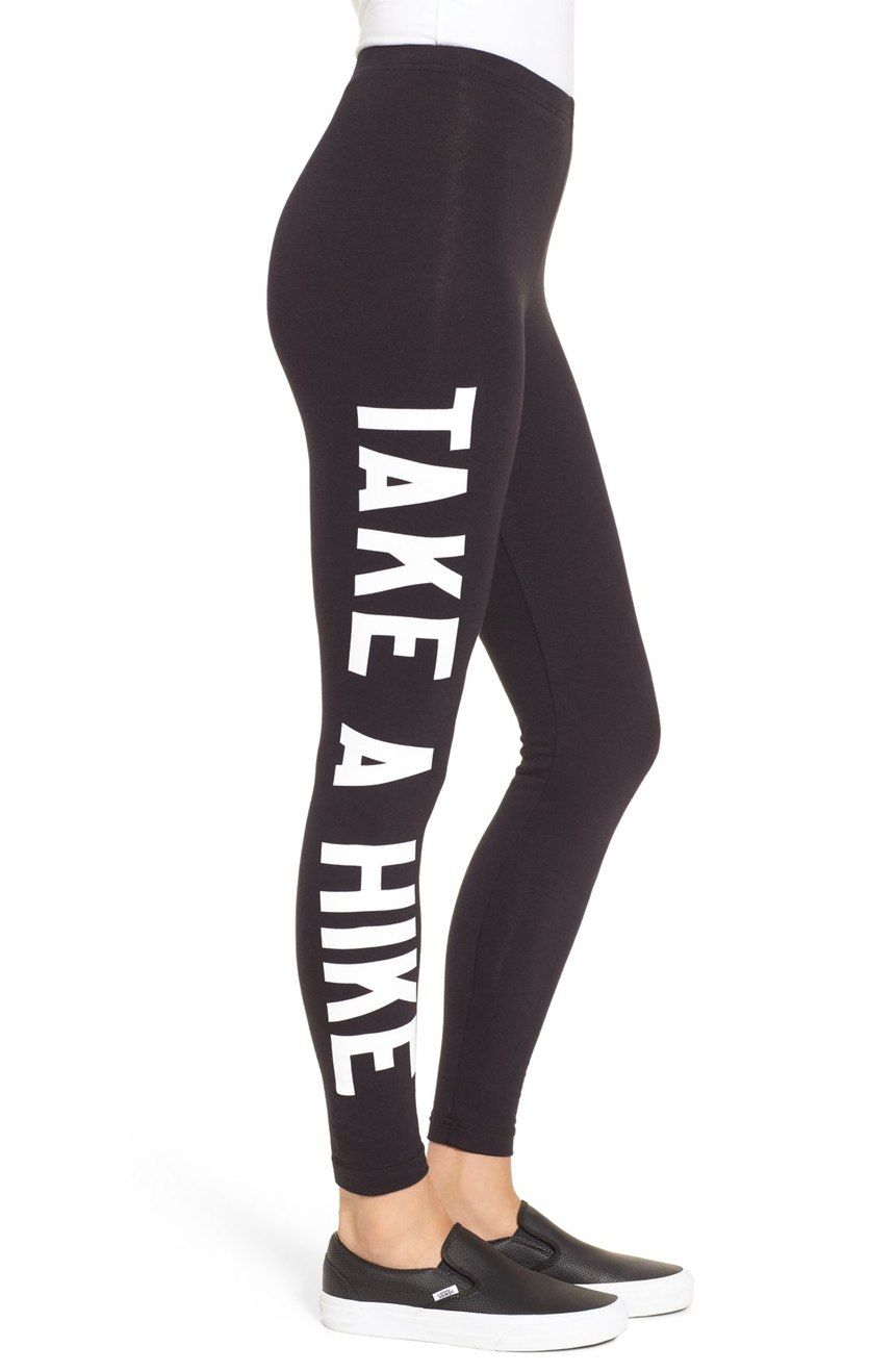 """Love these ultra-comfy leggings that say """"Take a hike"""" down the side of the leg."""
