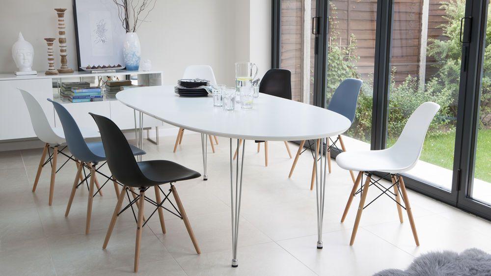 Modern White Satin Oval Extending Dining Table 6 10 Seater