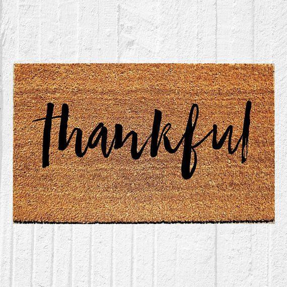 Thankful Doormat Welcome Mat Door Outdoor Rug Coir Fall