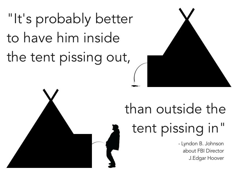 Pissing into the tent