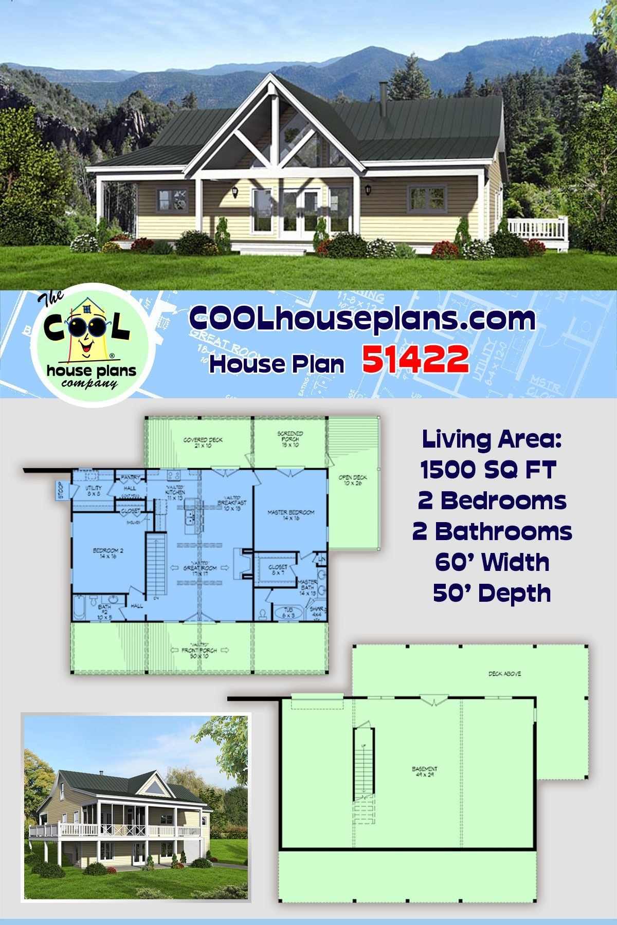 Traditional Style House Plan 51422 With 2 Bed 2 Bath Sloping Lot House Plan House Plans Hillside House
