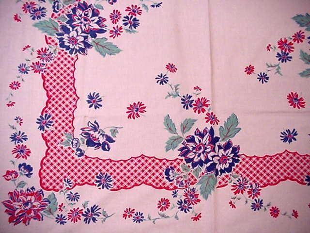 Vintage Red White Blue Floral Cottage LG Tablecloth Jadite Accents Spring Blooms | eBay