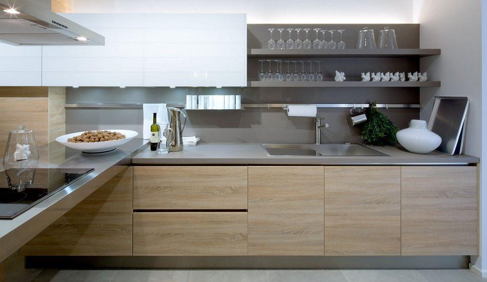 Einbauküche Brunni Grifflos Eiche Natur wohnen Pinterest - küchen in grau