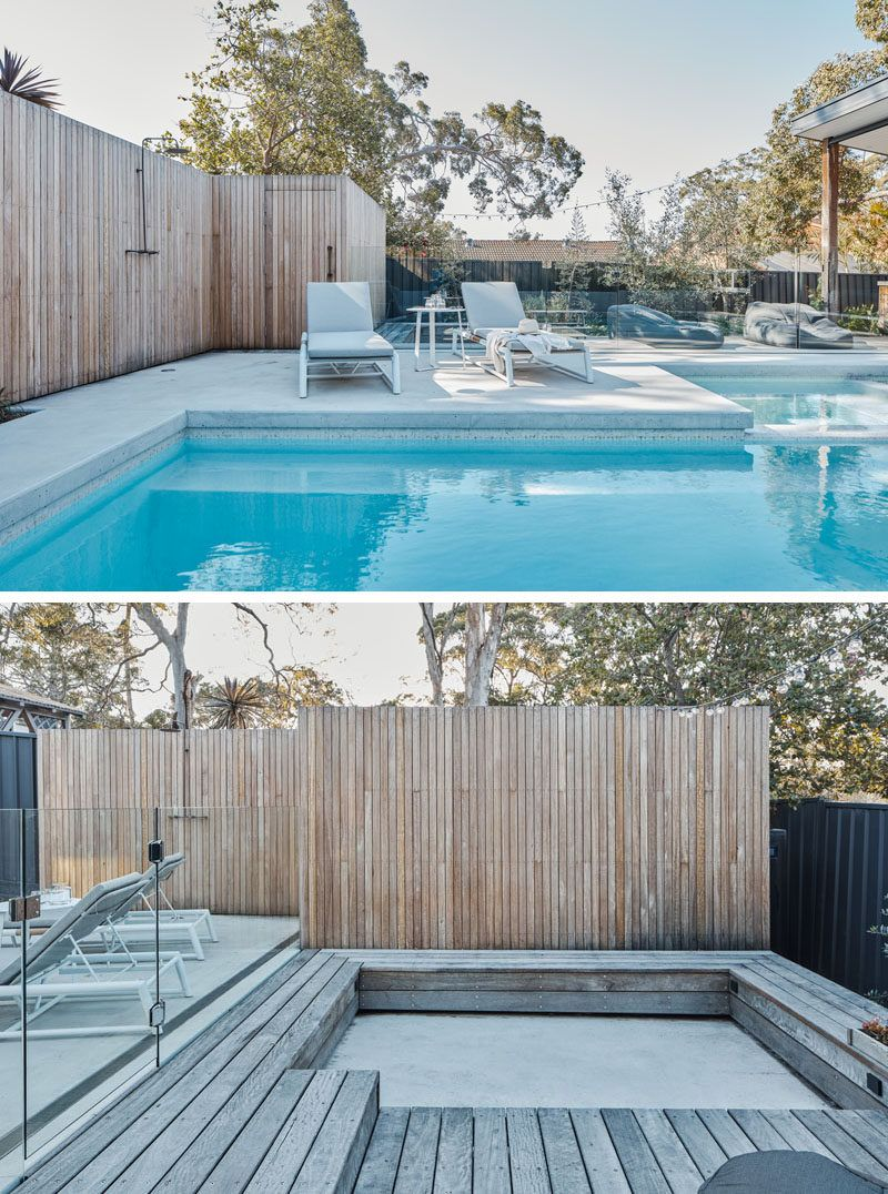 This Backyard Was Transformed Into A Small House With A Swimming Pool Backyard Pool Pool Houses Swimming Pools