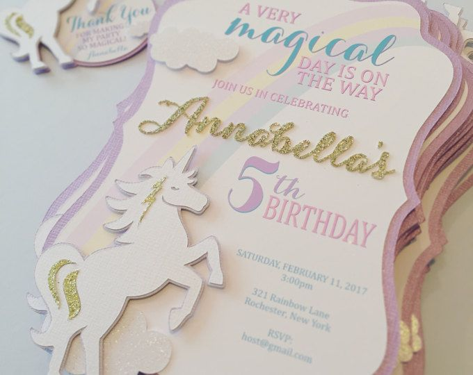 Unicorn Invitation Handmade With Glittered Name And 3D Accents