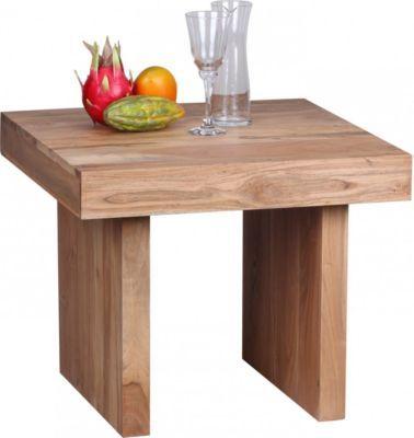 Wohnling WOHNLING Beistelltisch Massiv Holz Akazie 60 X Cm Wohnzimmer Tisch Design Dunkel