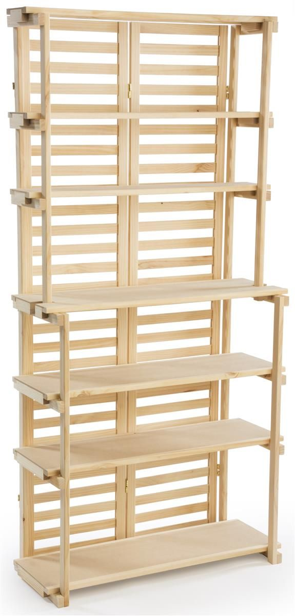 Wooden Retail Shelving Unit W 6 Shelves Pine Wood Display