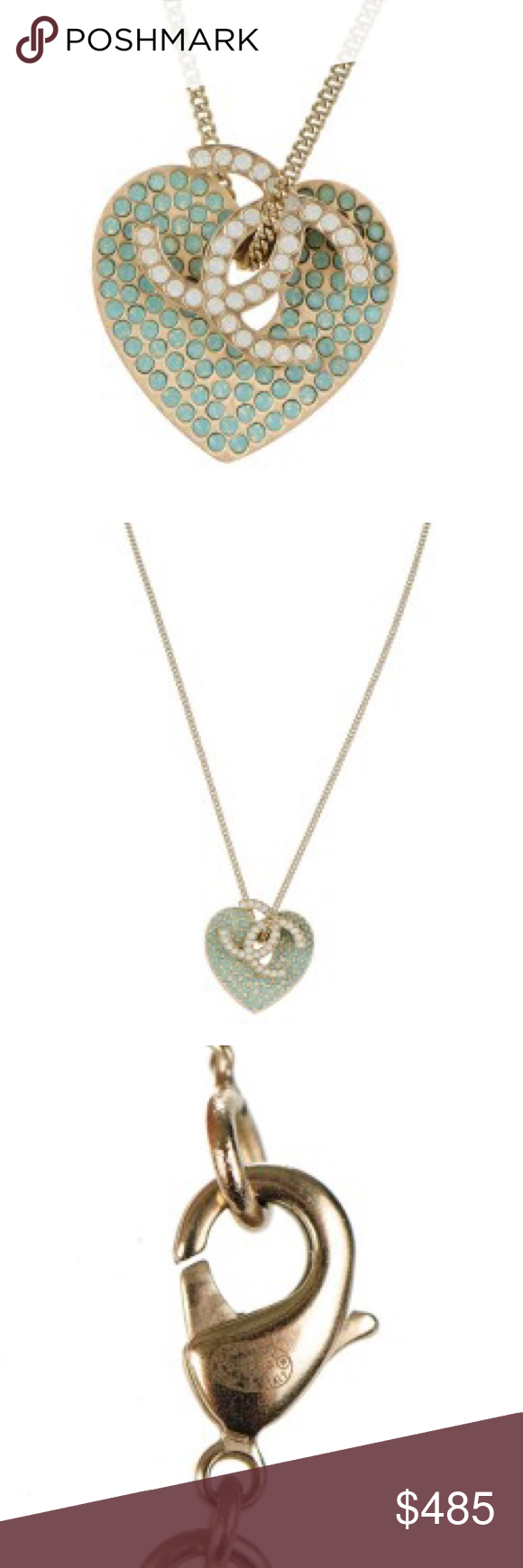 Chanel crystal heart cc charm necklace gold chanel jewelry and
