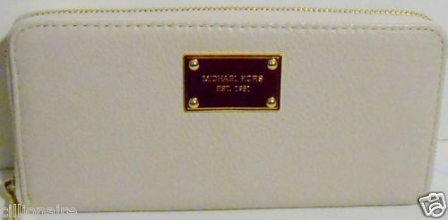 $100.00 MICHAEL KORS VANILLA LEATHER CONTINENTAL ZIP AROUND WALLET NWT + FREE GIFT