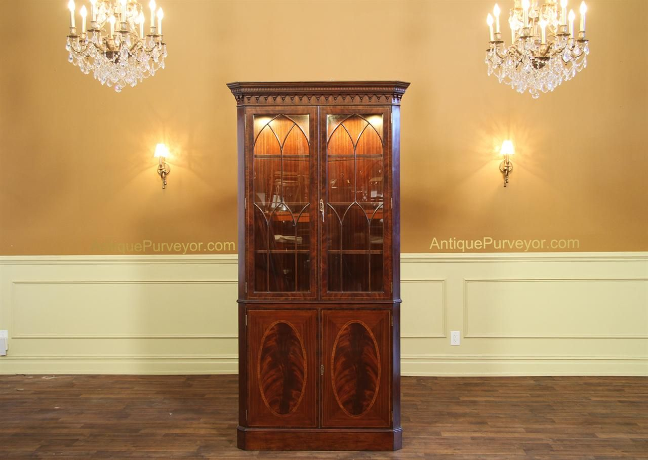 High End Antique Reproduction Corner China Cabinet Curio Or Hutch