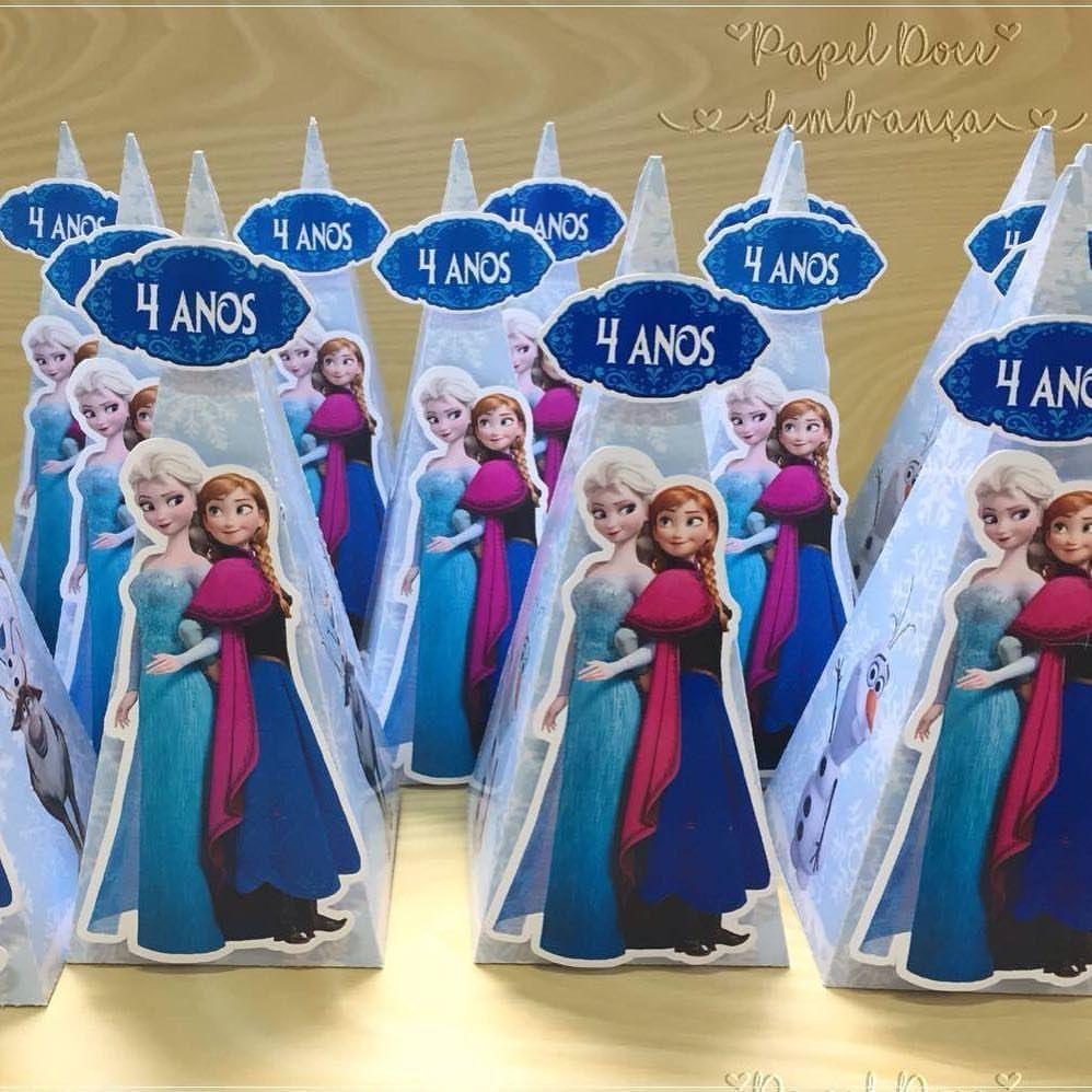 Disney Frozen Elsa Stickers Sweet Cones Birthday Thank You Party Cake Box