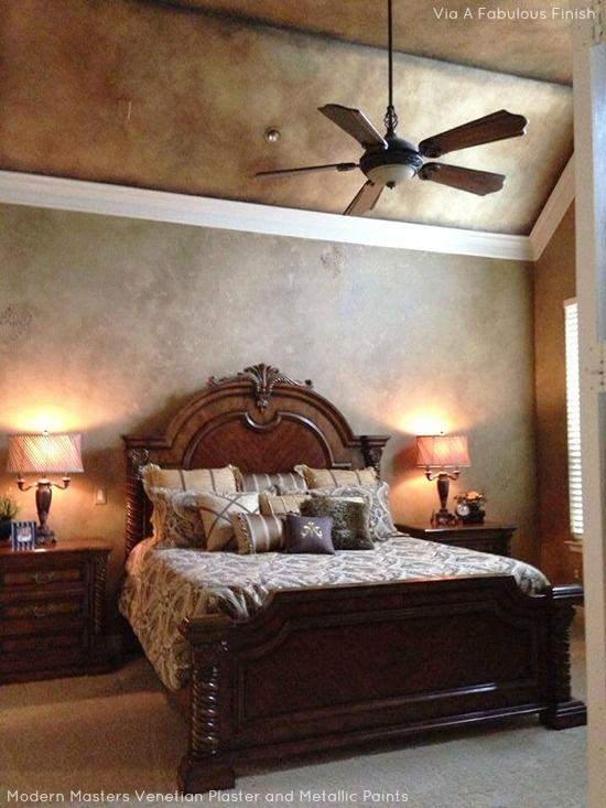 Beautiful wall and ceiling finish in a master bedroom with modern masters metallic paints and for What paint finish for bedroom