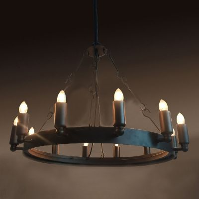 Wrought Iron 12 Light Chandelier In Industrial Style Black Finish