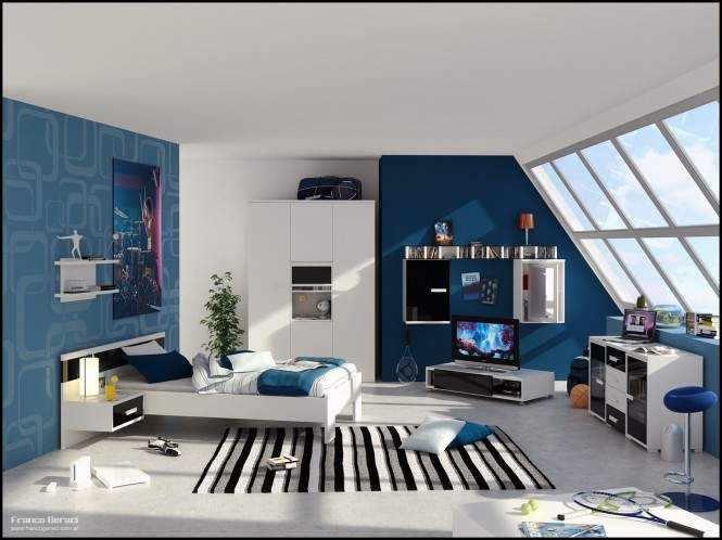 Teenage boy bedroom with white and blue wall paint colors and TV