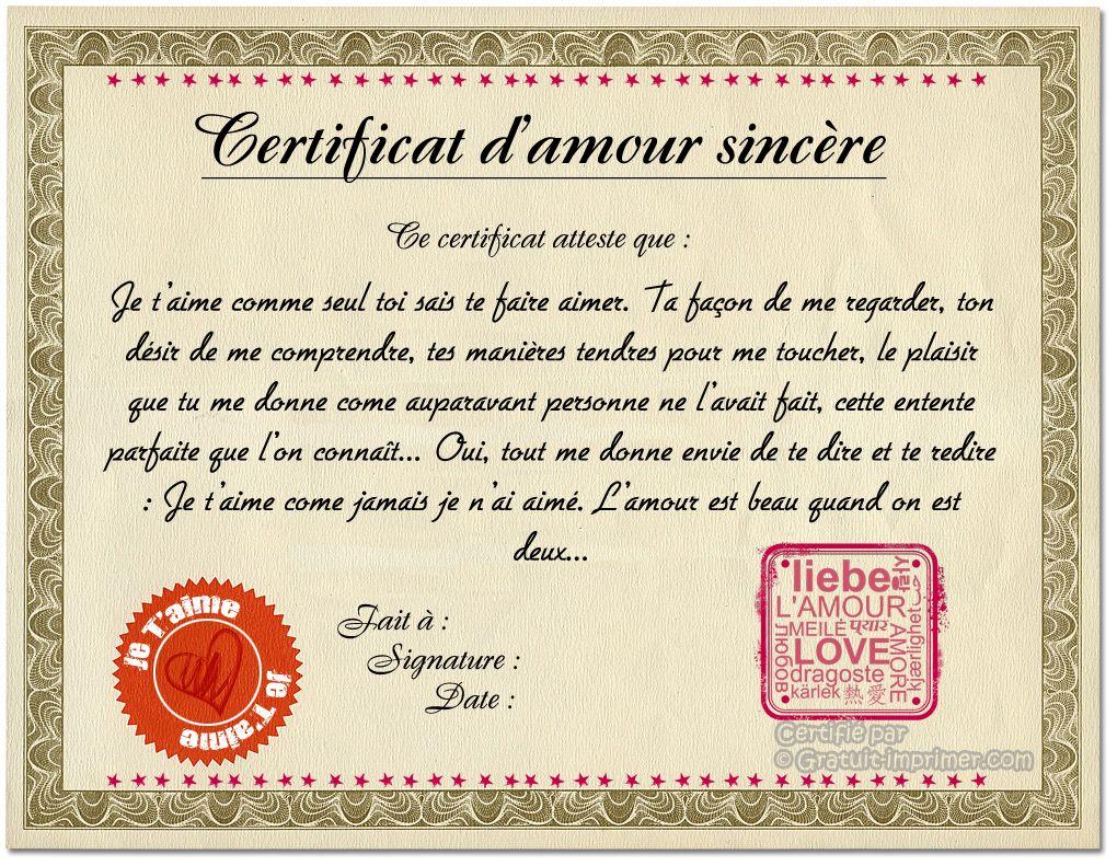 Certificat Amour Gratuit A Imprimer Carte Anniversaire A Imprimer A Imprimer Cartes Gratuites