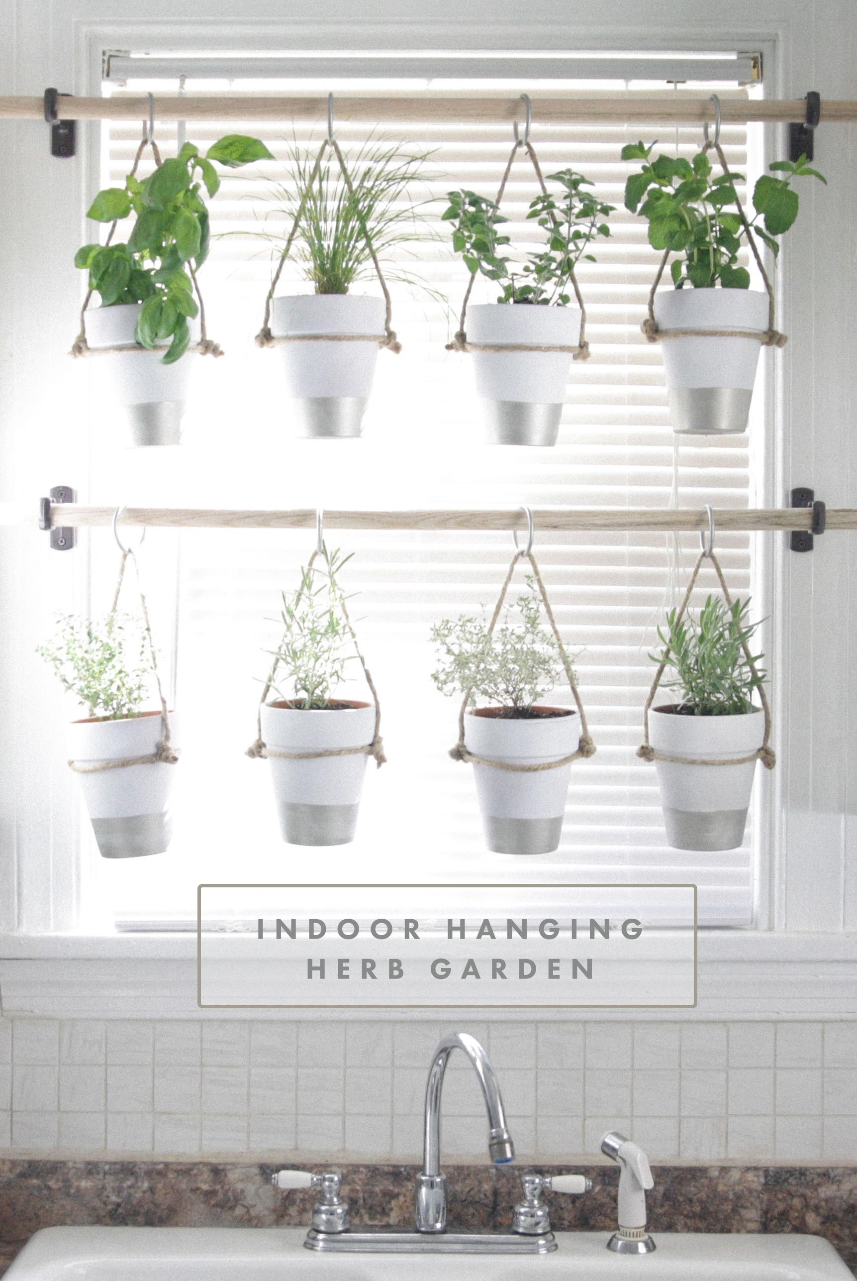 DIY Indoor Hanging Herb Garden // Learn How To Make An Easy,  Budget Friendly Hanging Herb Garden For Your Window. It Will Make Your  House Prettier And Fill ...