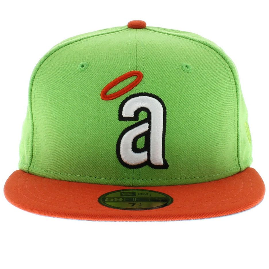 e4a3e2eaa83 California Angels Lime Green   Orange 59fifty New Era Cap