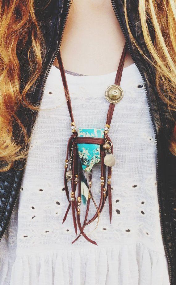 Desert Aurora / Raw Sleeping Beauty Turquoise Chunk / Statement Necklace / Bohemian Gypsy