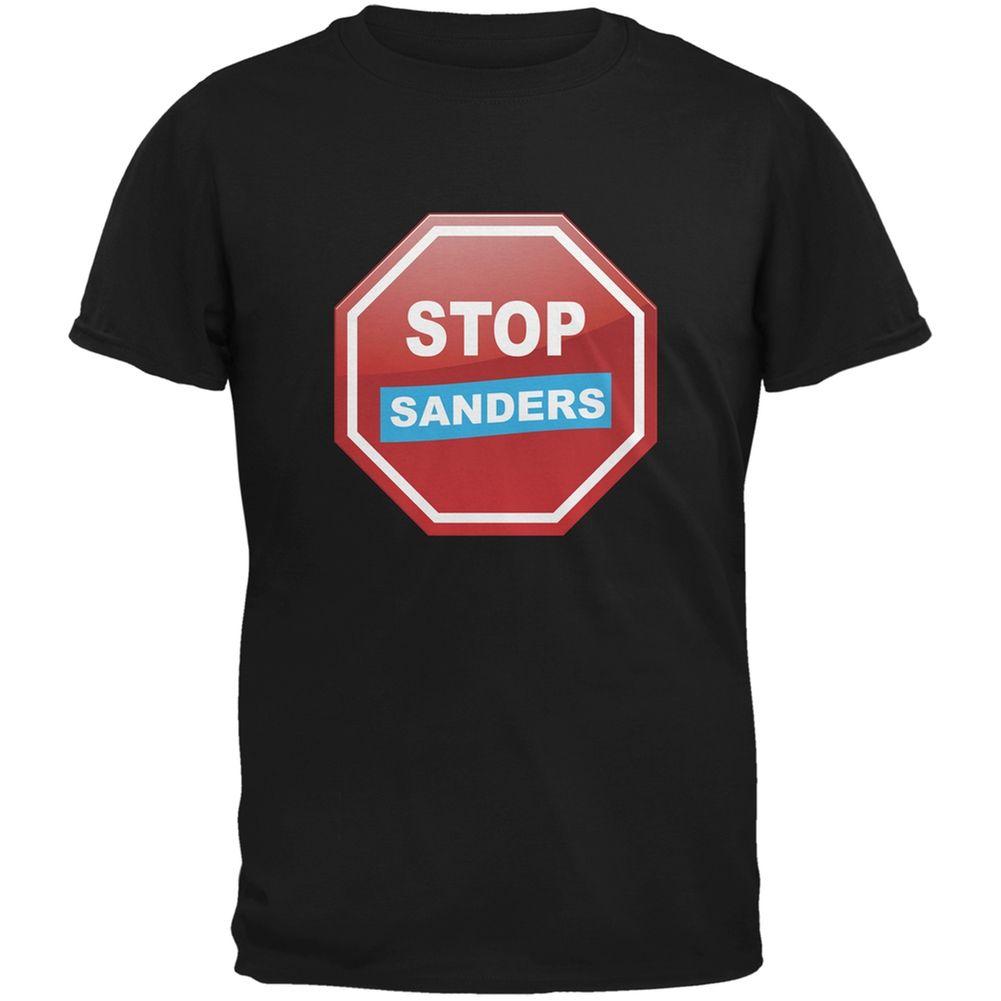 Election 2016 Stop Sanders Black Adult T-Shirt | OldGlory.com