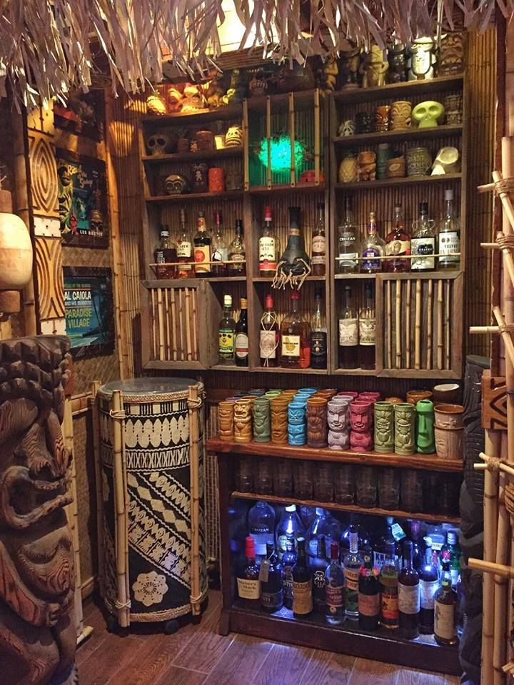Home tiki bar builds tiki lounge pinterest tiki for Tiki decorations home