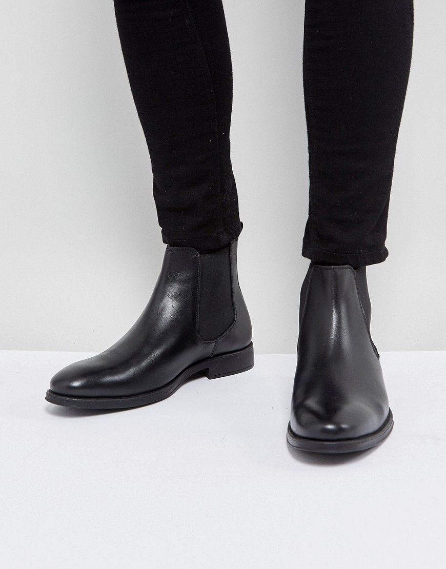 Dune Chelsea Boots In Black Leather Black Dune Shoes Dune