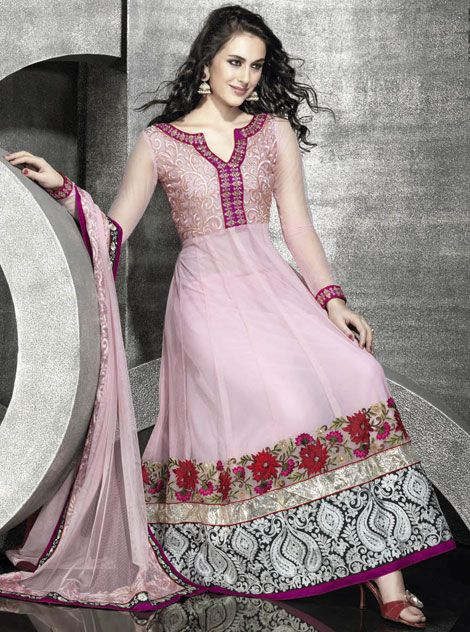 Light pink net anarkali