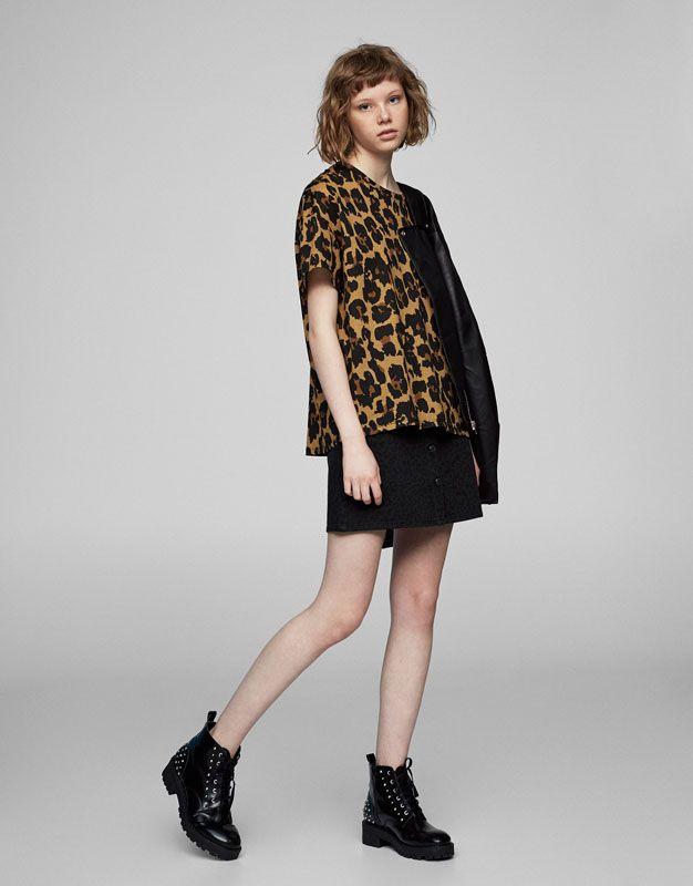 Leopard print T-shirt - T-shirts - Clothing - Woman - PULL&BEAR Israel. Pull  & BearLeopard ...