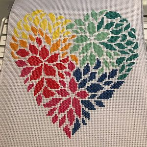 Photo of Flowers heart cross stitch pattern pdf – pillow embroidered – instant download – modern cross stitch – floral cross stitch