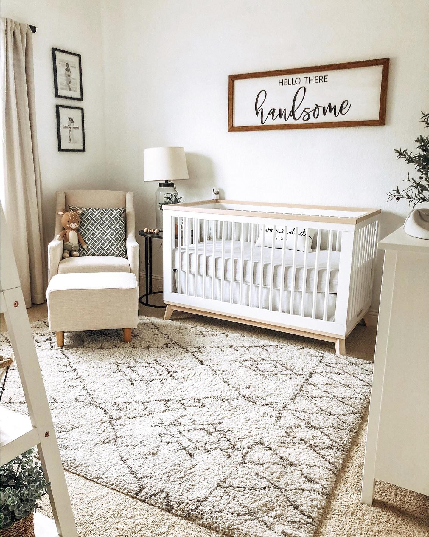 Neutral Toned Baby Boy Nursery with Hello Handsome Sign in 26