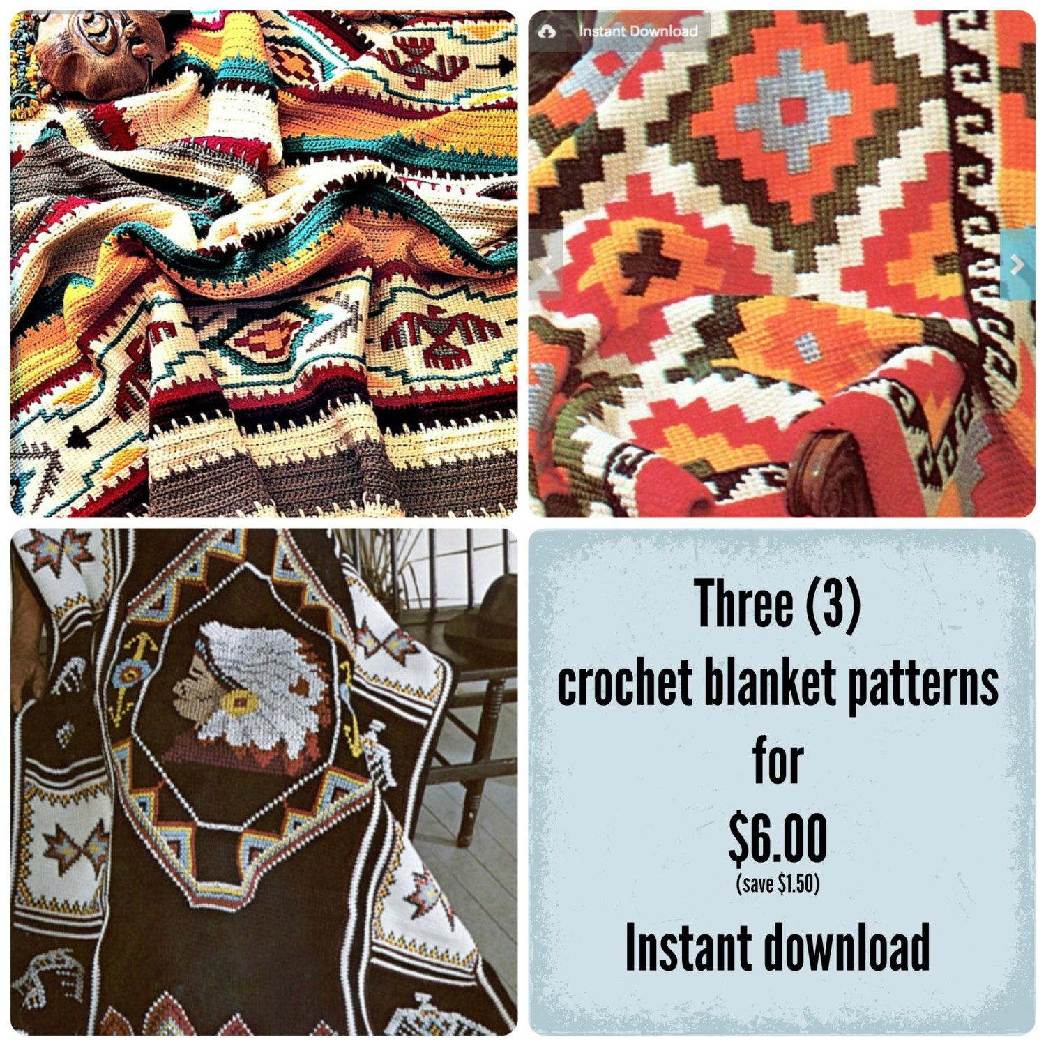Indian Crochet Blanket Patterns - Three (3) Afghan Pattern Special ...