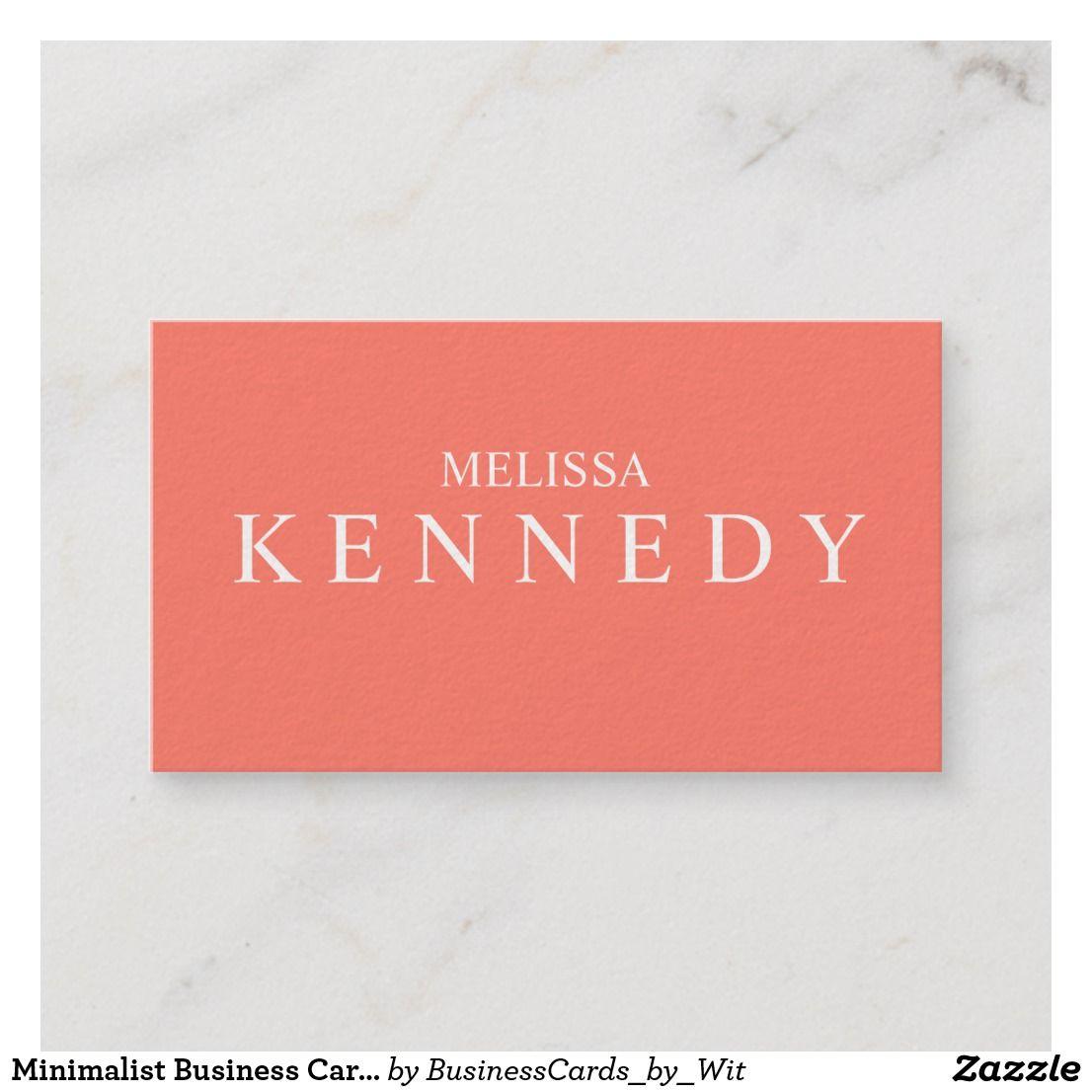 minimalist business cards coral white font  minimalist