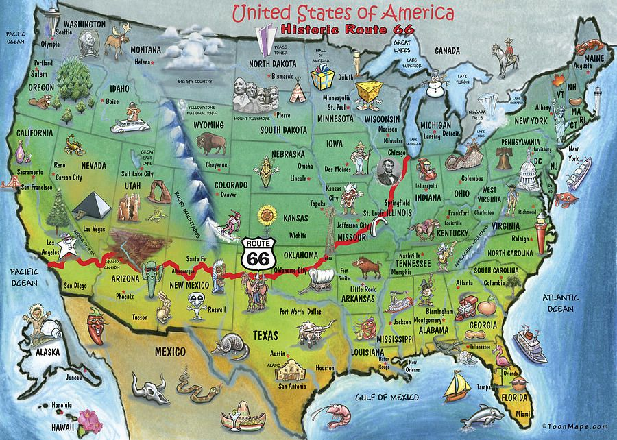 Students Can Get A Visual Of The States Route Traveled Through - Map of the 50 united states