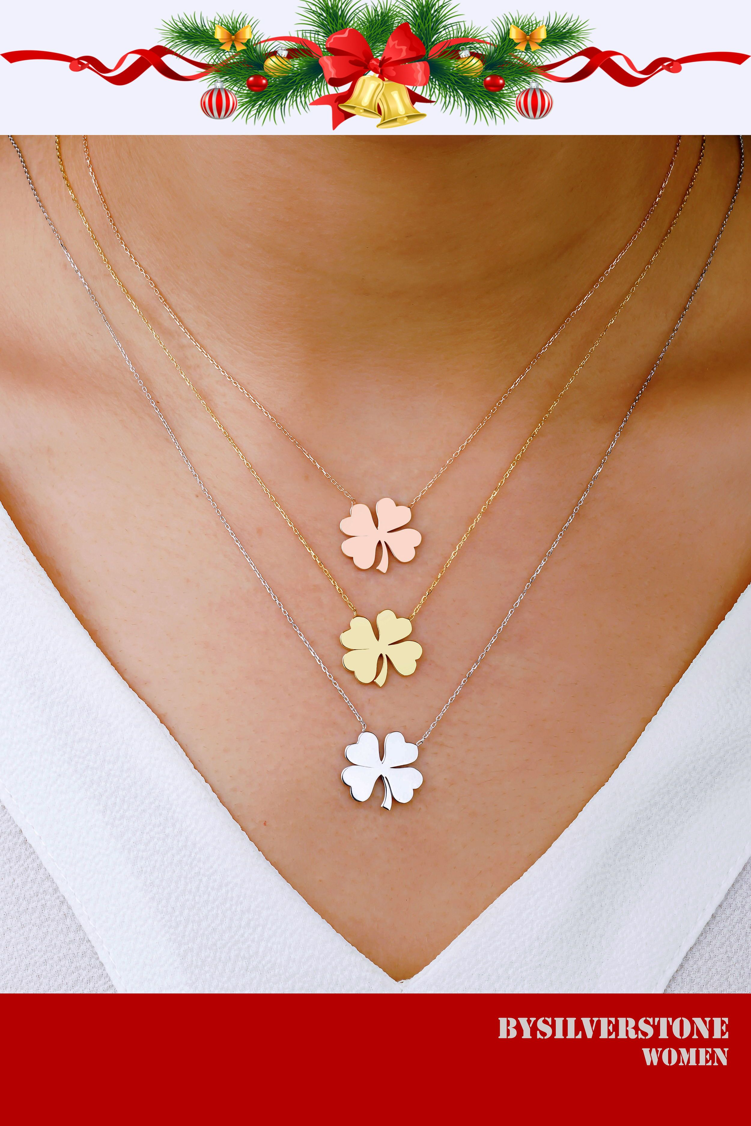 Gold Clover Necklace Decilate Gold Pendant 18k Gold Clover Etsy Clover Necklace Four Leaf Clover Necklace 14k Gold Chain