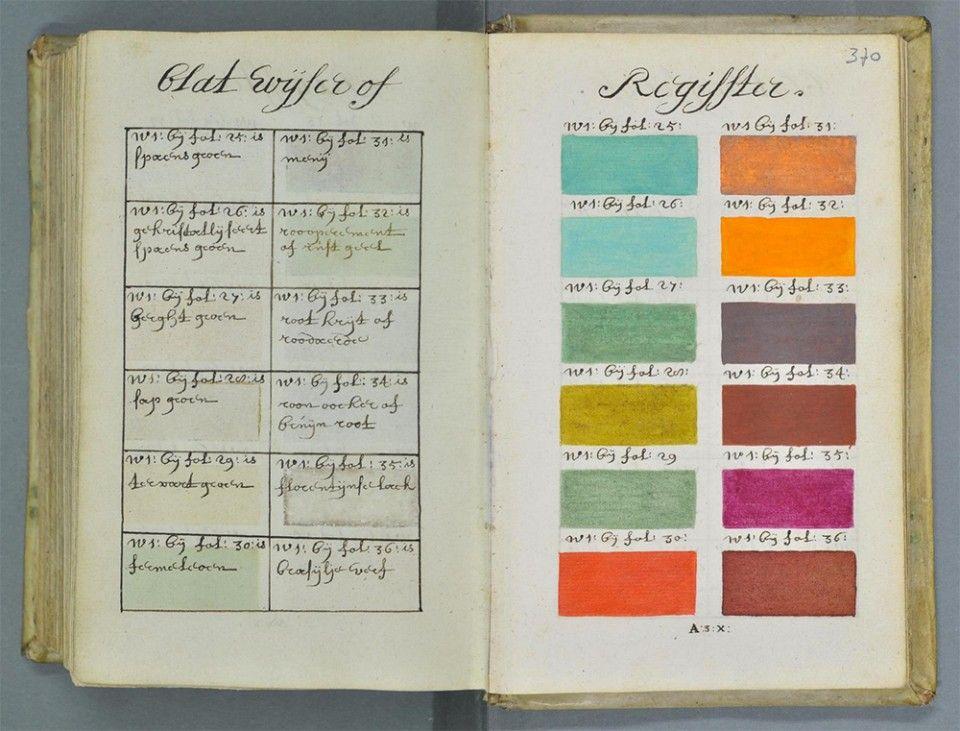 Proto Pantone 800 Page Color Palette Guide Book Hand Drawn In 1600s