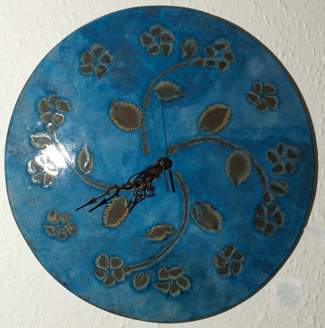 Big Round Ceramic Wall Clock Flowers On Blue Width 445cm Art