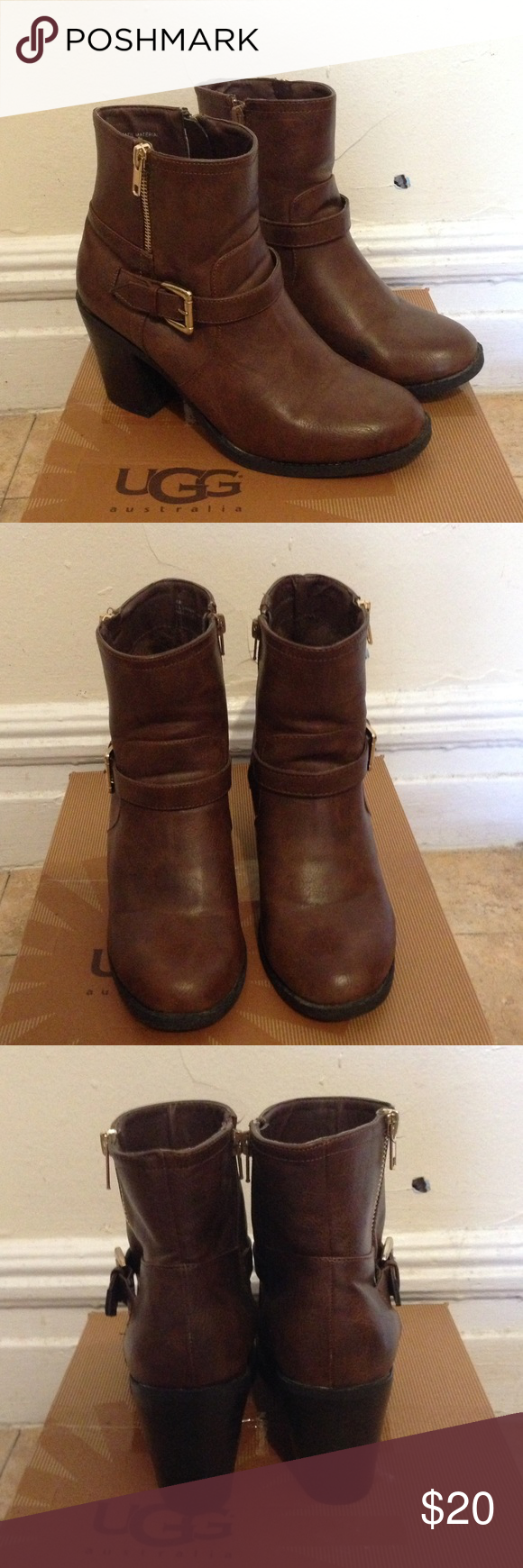 """Brown Booties with Gold Details Excellent conditions no scuffs, barely used these. The heel is about 3"""" and they look amazing with skinny jeans, perfect for a fall outfit Shoes Ankle Boots & Booties"""