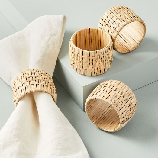FEED Hand-Carved Wood Napkin Rings (Set of 4)